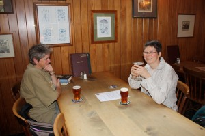 claire and lindy at galbraith's pub, formerly a library