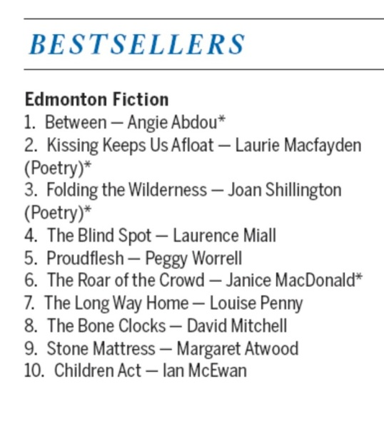 Edmonton bestsellers list, compiled by Audreys Books Sept. 19, 2014